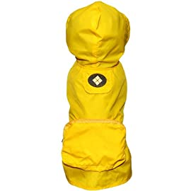 Fab Dog Pocket Travel Raincoat, Yellow Argyle