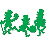 Beistle 33019 3-Pack Packaged Leprechaun Silhouettes, 17-Inch by 15-Inch