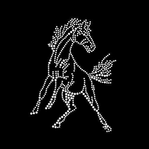 Mustang Bronco Iron On Rhinestone T-shirt Transfer