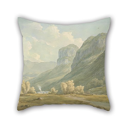 Uloveme Oil Painting John Warwick Smith - Village Of Stonethwaite And Eagle Cragg, Borrowdale Throw Pillow Case 18 X 18 Inches / 45 By 45 Cm Gift Or Decor For Boys,couples,relatives,kitchen,outdoor (Village Press Olive Oil compare prices)