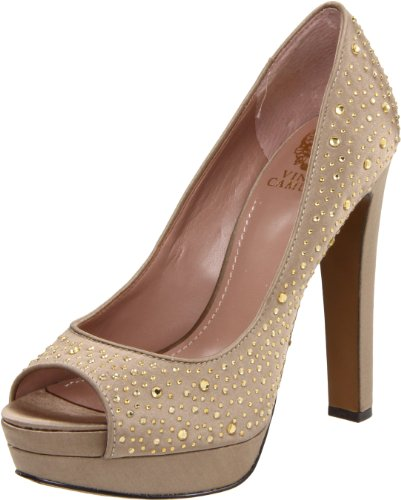 Vince Camuto Women's Garnets Peep-Toe Pump,Fawn,7 M US