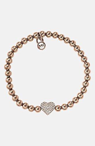 Michael Kors Brilliance Pave Heart Stretch Bracelet Gold Color