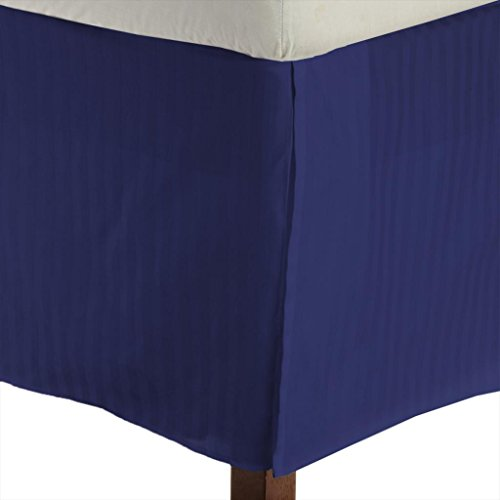 "650 Tc Egyptian Cotton 1X Bed Skirt For Rv'S, Campers, Bunk & Travel Trailers 12"" Drop Rv Full (53X75"") Egyptian Blue Stripe front-216912"