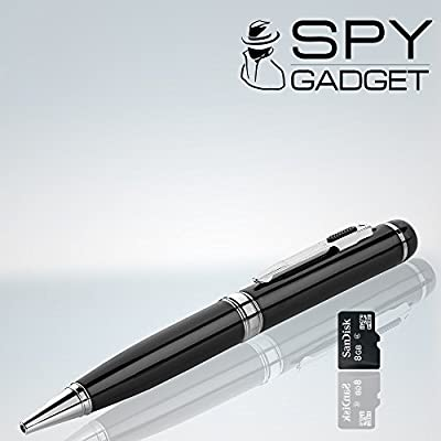 Spy Gadget® 720p Spy Pen Camera w/ True Hd - 8gb Sd Card Included & 30 Day Money Back Guarantee - Hidden Camera Pen, Digital Video Recorder, Pencam, Tiny DVR & Webcam, Executive Style Ballpoint Pen, Works Easily for Pc/mac, This Is Real 1280 X 720p Qualit