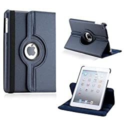 Leather 360 Degree Rotating Smart Stand Case Cover For New iPad 4 iPad 3 iPad 2 - Navy Blue