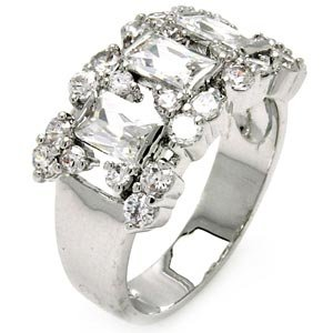 Brass Baguette Round Cubic Zirconia Engagement / Wedding Ring (11.5 mm) - Rhodium Plated