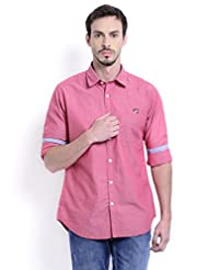 Sting Pink Solid Slim Fit Full Sleeve Cotton Casual Shirt For Men
