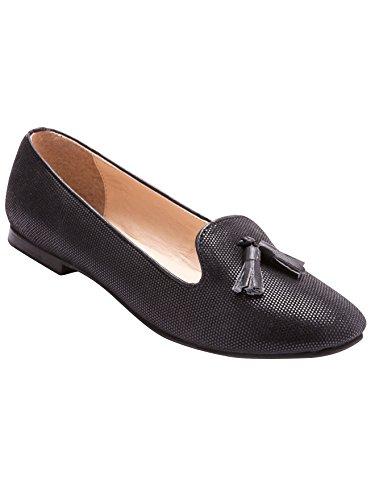 Balsamik - Mocassini slippers in pelle stampa pitone, pianta larga - donna - Size : 42 - Colour : Nero
