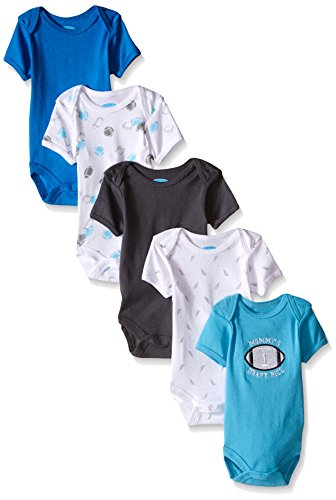 BON BEBE Boys' 5 Pack Bodysuit Set, Football Blue, 0-3 Months (Bebe Feet compare prices)