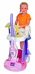 Pavlov'z Toyz Cleaning Cart with 2 In 1 Vacuum Cleaner Toy, Purple,Pink,White