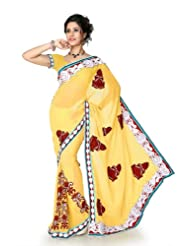 Designersareez Women Faux Georgette Embroidered Maize Yellow Saree With Unstitched Blouse(1298)