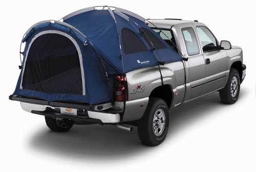 GM 6.5' Short Bed Blue Truck Tent with Awning and White GM Racing Logo