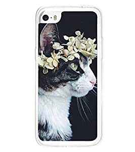 Cat with a Flower Crown 2D Hard Polycarbonate Designer Back Case Cover for Apple iPhone 5C