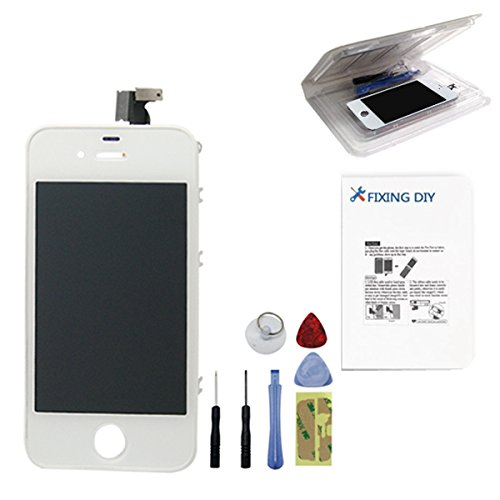 For Iphone 4 (Gsm/At&T) Full Set Lcd Screen Replacement Digitizer Glass Lens Assembly Display Touch Panel White + Free Repair Tool Kits [Ships From Usa]