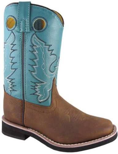Smoky Mountain 3524 Youth'S Pueblo Square Toe Boot Brown/Turquoise Child'S 8.5 M