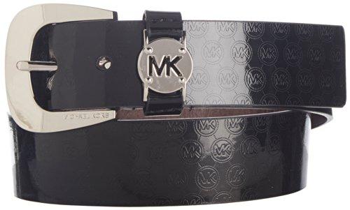 Michael Kors Mk Western Signature Logo Black Patent Belt Silver Buckle Size Large