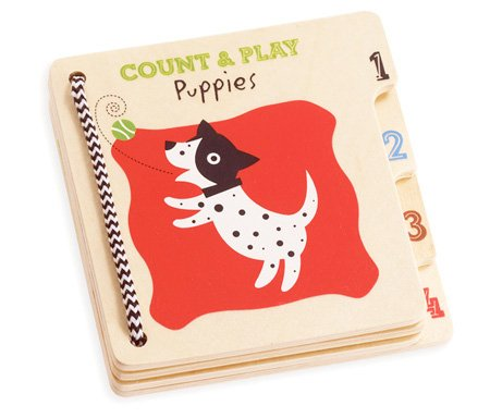 Small Wooden Books - Count & Play Puppies by Manhattan Toy