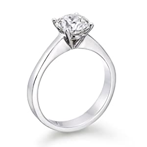 Solitaire Diamond Ring 1 ct, K Color, VS2 Clarity, Certified, Round Cut, in 18K Gold / Yellow