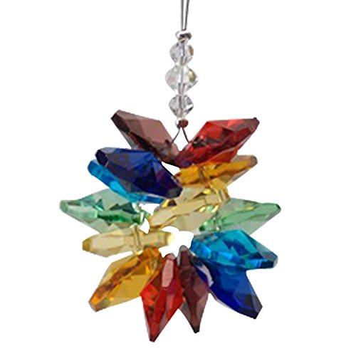 Crystal Chakra Cluster Color : Rainbow Rainbow Maker Home Ornament Glass Decoration Living Room Bedroom Kitchen Car Mirror Porch Decor Figurine Hanging Crystal Suncatcher