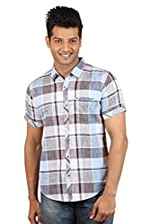 Le Tailor Men's Slim Fit Casual Checkered Shirt (SLCHS106,Grey & Blue)