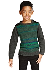 Fair Isle Crew Neck Jumper with Wool