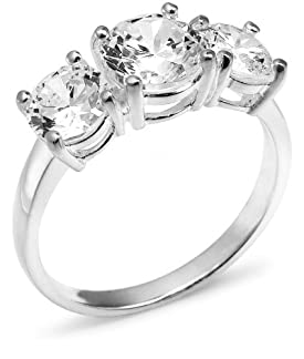 Sterling Silver 3-Stone Cubic Zirconia Ring, Size 8