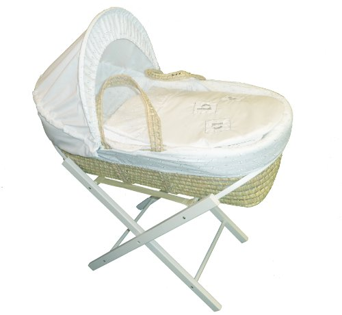 Beautiful White Broderie Anglaise ABC Moses Basket With White Wooden Folding Stand