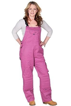 Amazon.com: Rosies - Womens Cotton Denim Bib - Dark Pink Ladies Work
