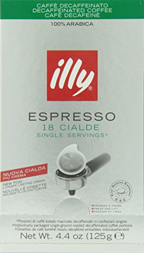 illy Caffe Decaffeinated Coffee Espresso (Regular Roast, Green Band), 18-Count E.S.E. Pods (Pack of 2) (Illy Decaf Espresso Beans compare prices)