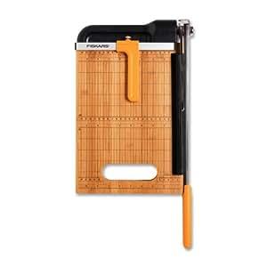 Fiskars Bypass Bamboo Base, Titanium Carbide Blade Paper Trimmer, 15-Inch (01-005745)