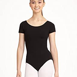 Capezio Little Girls\' Classic Short Sleeve Leotard,Black,S (4-6)
