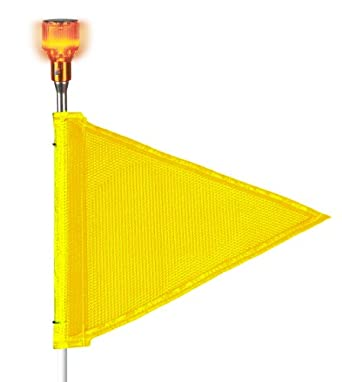 Flagstaff FS10 Triangular Safety Flag with Light, Threaded Hex Base