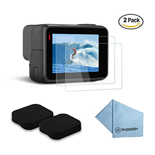 Rhodesy Pack of 2 Ultra-Clear Tempered-Glass LCD Display Screen Protector + Lens Cover Cap for GoPro Hero 5 Action Camera