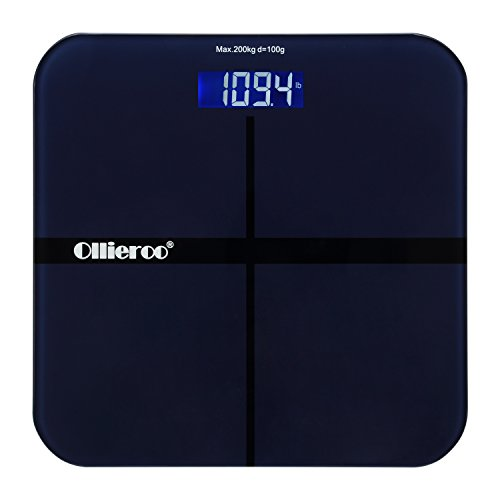 Ollieroo Navy 400lb Precision Digital Body Weight Bathroom Scale with Tempered Glass Blue LCD Display Smart Step-on (Dial Triple Action compare prices)