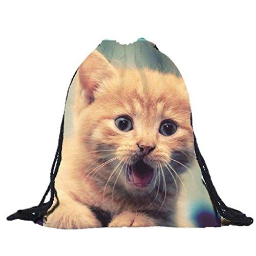 kingko® Turnbeutel 39cm*30 cm borse unisex Cat stampato stampa 3D Borse Zaini stampa viaggio con coulisse fascio Port zaino Shopping Bag Sport (C)