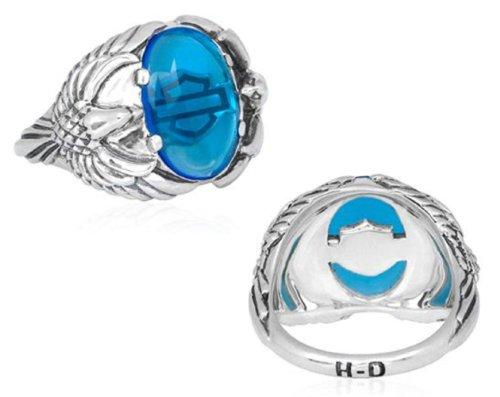 Harley-Davidson® MOD® Women's .925 Sterling Silver H-D Blue Eagle Ring. HDR0305