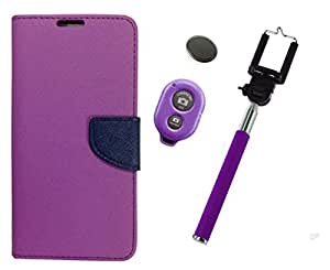 Novo Style Book Style Folio Wallet Case Samsung Galaxy J7 Purple + Selfie Stick with Adjustable Phone Holder and Bluetooth Wireless Remote Shutter