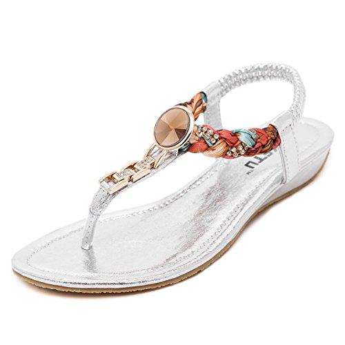 Smilun Bambina Sandali Capri con cinturino dietro la caviglia Nero stringati lacci 36 argento