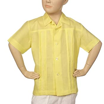 Boys irish linen shirt in yellow short sleeve.