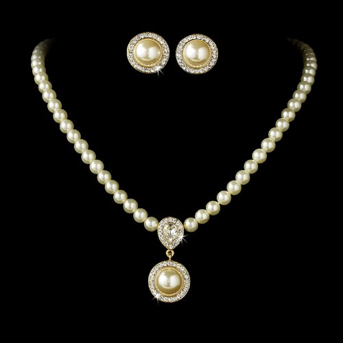 Gold Ivory Pearl Crystal Victorian Bridal Wedding Necklace Earring Set