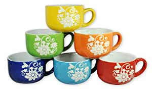 Francois et Mimi 14-Ounce Ceramic Coffee & Soup Mugs, Large, Set of 6