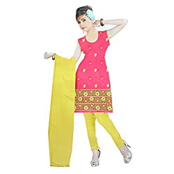 Gilora Fashions Women's Cotton Unstitched Dress Material (GF-112_Pink and Yellow)