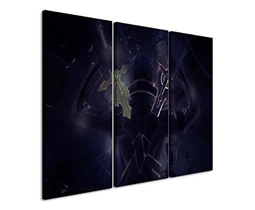 Stampata Sword _ Art _ Online _ Kirito _ 3x 60x 30cm (totale 100x 60cm) _ Telaio di alta qualità con vera tela come quadro su telaio da parete