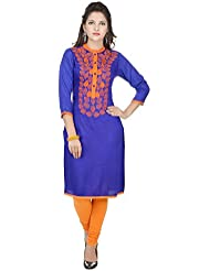 Amour Purple Cotton Cambric 60S Straight Digital Printed Kurti For Women