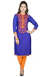 Amour Purple Cotton Cambric 60S Straight Digital Printed Kurti For Women_M