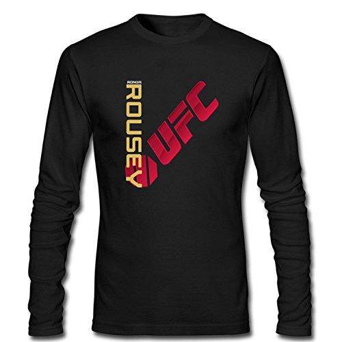 WanDi Men's UFC Ronda Rousey Champion Jersey Long Sleeve T-shirt black S