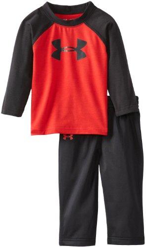 Under Armour Baby-Boys Infant Branded Long Sleeve Raglan Set, Red/Black, 12 Months front-223402