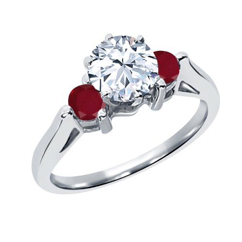 0.84 Ct Round White Topaz Red Ruby 925 Sterling Silver 3-Stone Ring