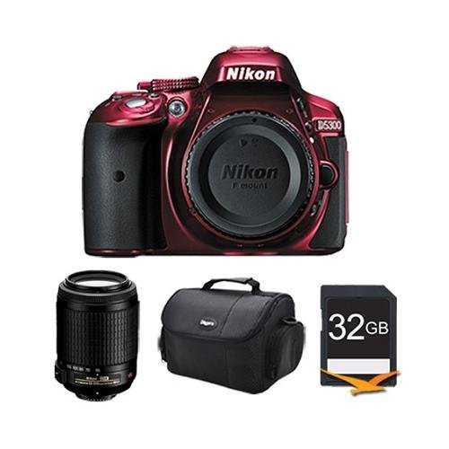"Nikon D5300 Dx-Format Digital 24.2Mp Slr Body (Red) W/ 3.2"" Vari-Angle Lcd, Wi-Fi, Gps With 55-200Mm F/4.5-5.6G Ed Af-S Vr Dx Zoom-Nikkor, Deluxe Gadget Bag, And 32Gb Memory Card"