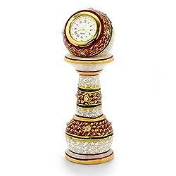 Little India Gold Painted Meenakari Work Marble Pillar Watch (373, White)